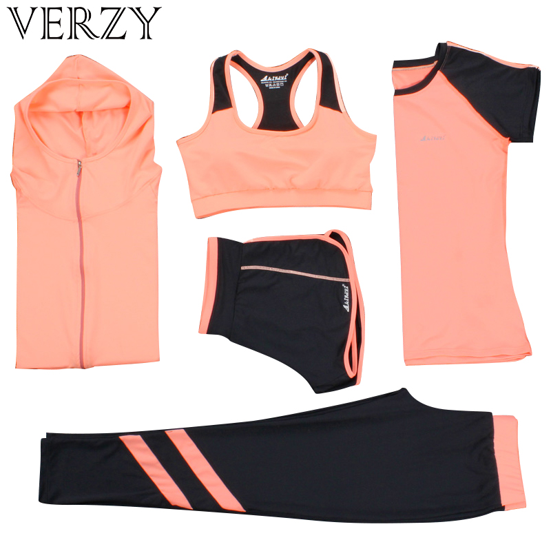 Tenues de Yoga Femmes vêtements de gym fitness Courir Survêtement soutien-gorge de Sport + Sport Leggings + Yoga Shorts + Top 5 Pièces Ensemble grande taille M-3XL