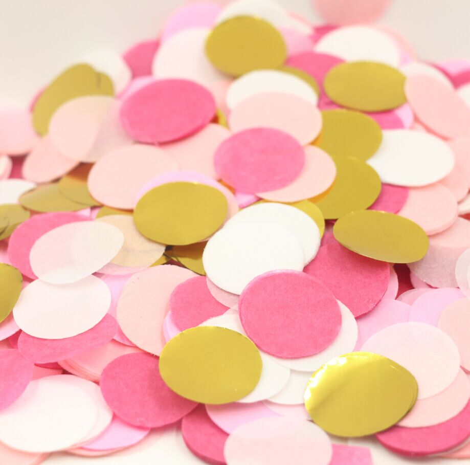 5000pcs Circle Confetti White Pink And Gold Baby Shower Decoration