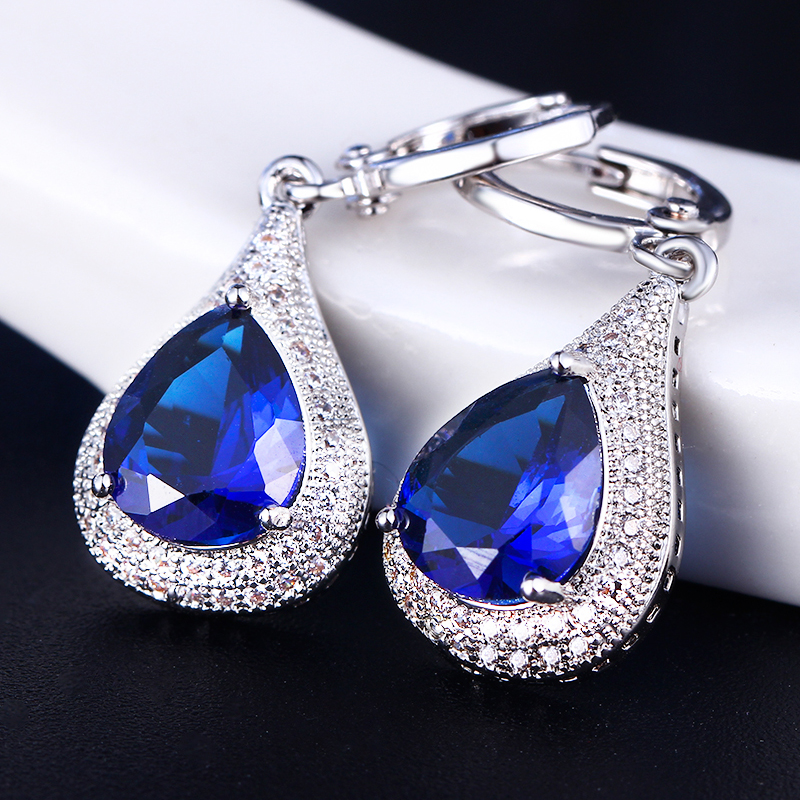 Cercei de bijuterii DODO Femeie Albastru strălucitor Cristal Vintage - Bijuterii de moda - Fotografie 2