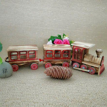 New retro wooden three-section locomotive simulation train model crafts ornaments childrens toys