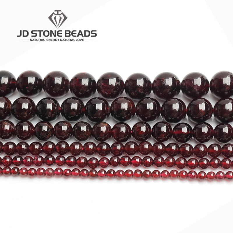 Wholesale Natural Gemstone Beads Dark Red Wine Garnet Round Loose Beads Jewelry Making 15.5