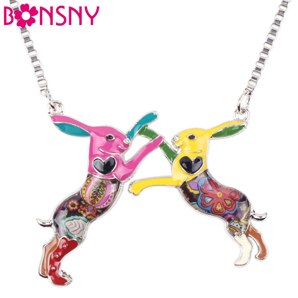 Bonsny Statement Metal Alloy Animal Rabbit Hares Choker Necklace Chain Collar Pendant 2016 Fashion New Enamel Jewelry  Women