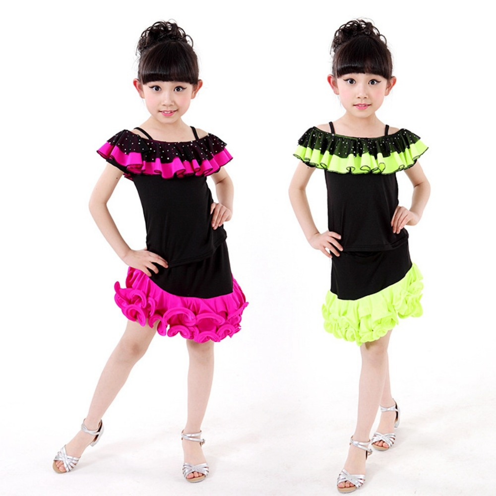Childrens Performance Stage Latin Salsa Ballroom Short Sleeve Dot Polka Lace Girls Dance Dress Kids Dancewear Costumes S3008 3colors 100 160cm height kids child girls tassel dress ballroom latin salsa fashion dancewear dance costume dresses gifts
