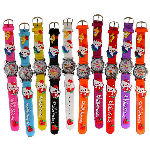 Hot Sale Kids Hello Kitty Watch Silicone Strap Cute Cartoon Children's Watches Kids Watches Girl Watches Baby Clock Gift saat