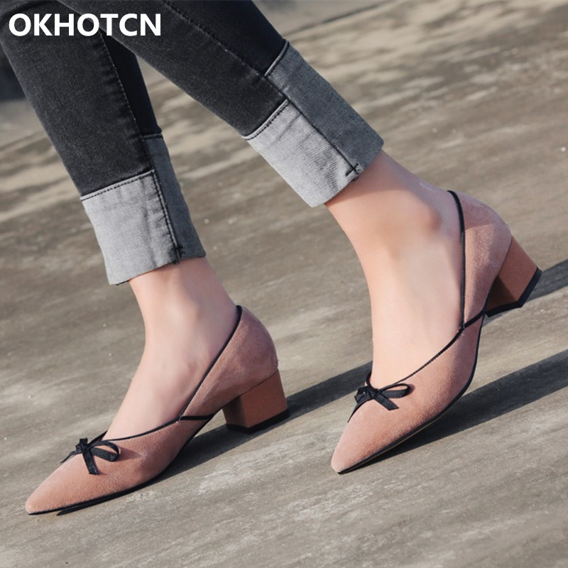 e8865048833 Sweet Suede Black Beige Color Girl Nude Shoes Pointed Toe Slip On Middle Chunky  Heel Footwear Shallow Bowtie Pumps Women Shoes