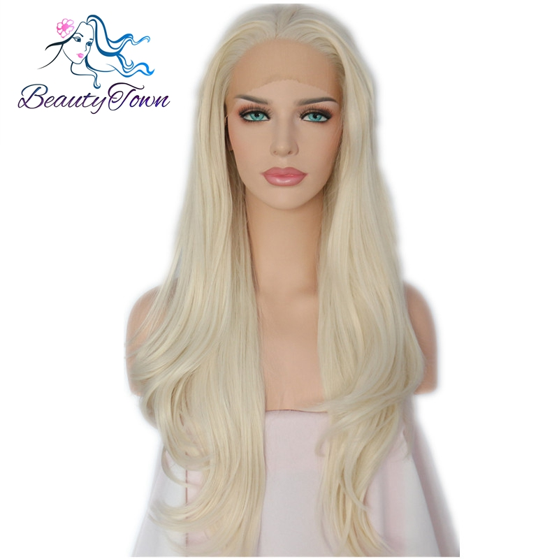BeautyTown Soft Natural Long Light Blonde Body Wave Style Glueless Heat Resistant Hair Daily Makeup Synthetic