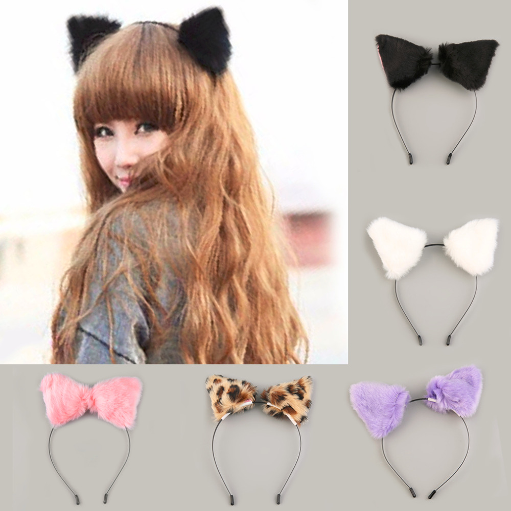 Fashion Fluffy Halloween Party Cat Faux Fox Fur Ears Costume Hairpin Hairband Black/White/Purple/Leopard/Black Cute 2019