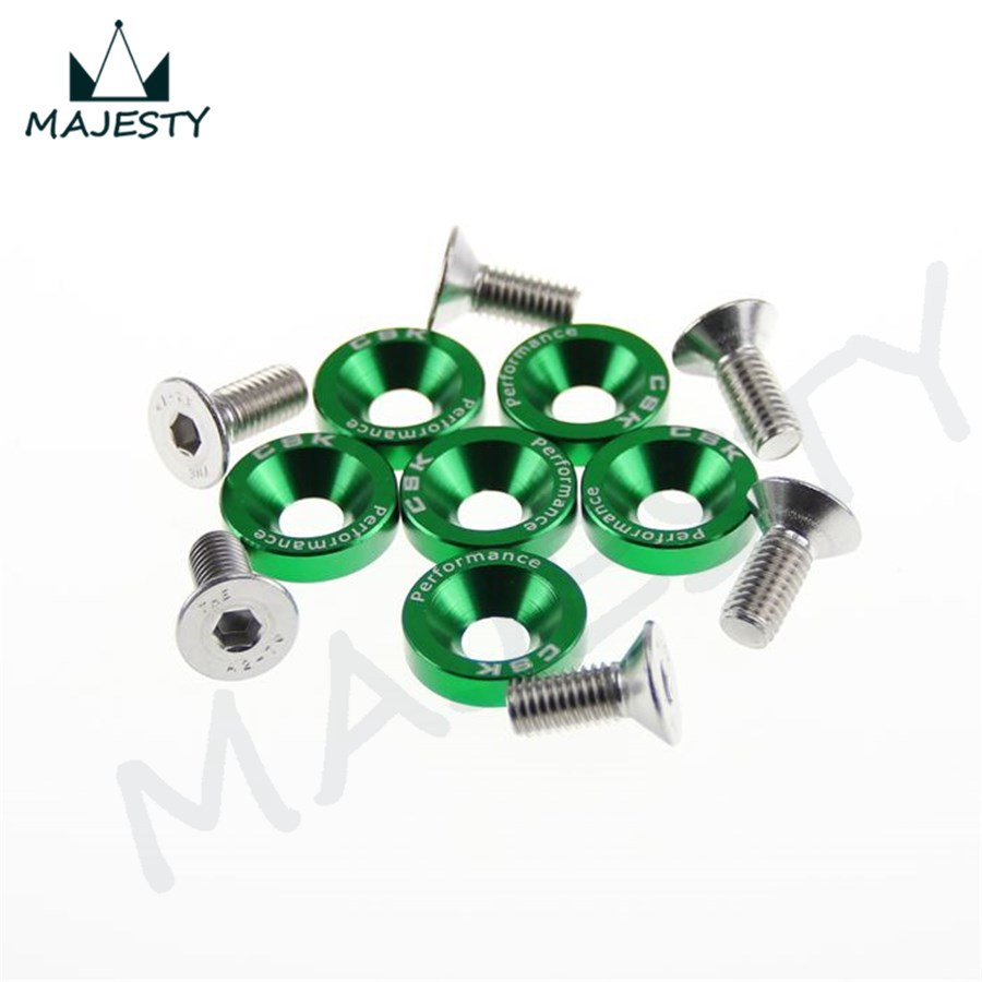 12 шт. M8 шестигранные крепежные детали крыло Омыватель бампер двигатель вогнутые винты JDM BK/RD/BL/SL/GD/PL/зеленый цвет
