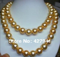 35 8MM SEA NATURAL GOLD Shell PEARL NECKLACE