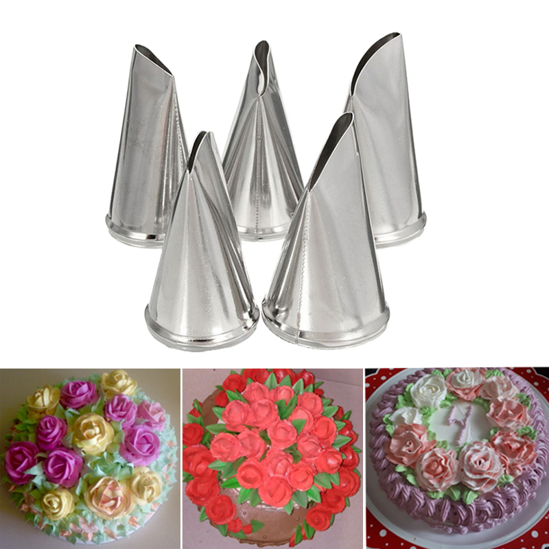 5PCS Stainless Steel Flower DIY Icing Piping Nozzles Cake Cream Decorating Tool