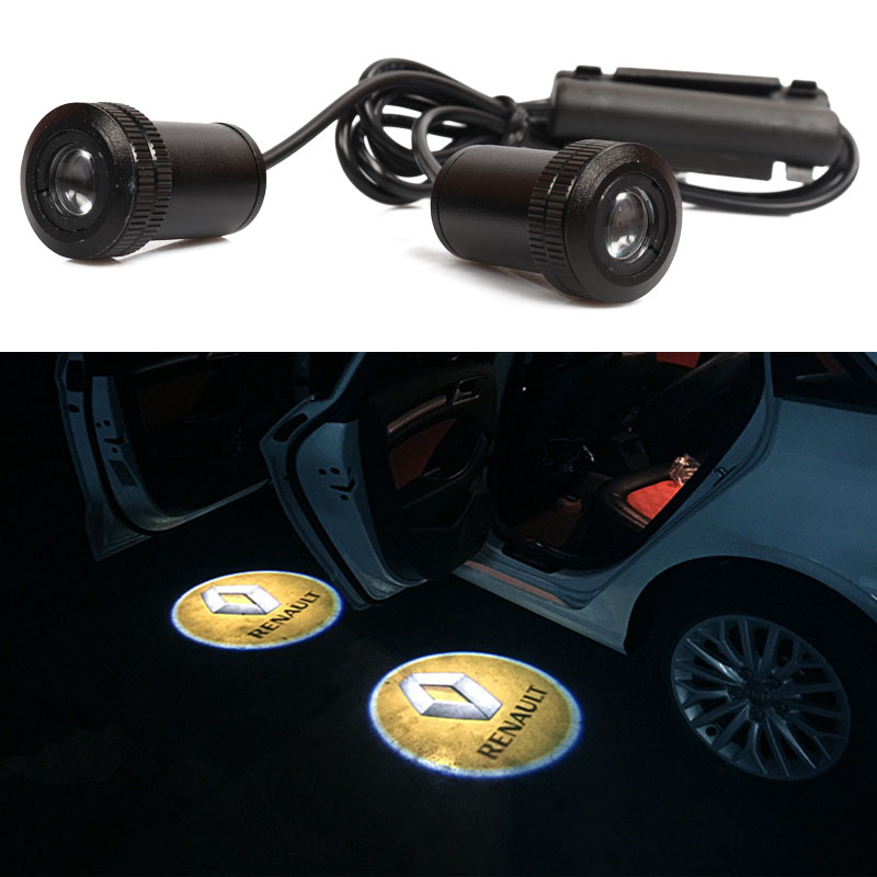 2pcs LED Car Door Logo Projector Light For Renault Duster Laguna 2 Megane 3 Logan Clio Scenic Captur Laguna Fluence Accessories