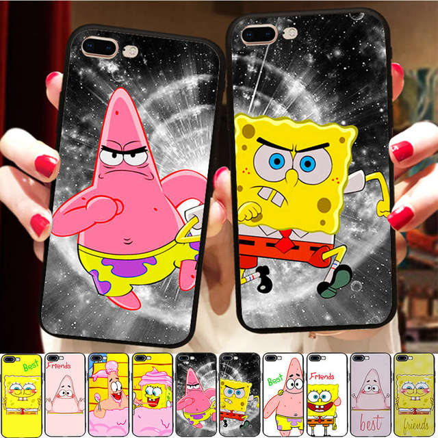 wholesale dealer fd5b2 4d90e Funny SpongeBob Patrick Best Friends Case For Apple iPhone X 8 7 6S 6 5 S  5S XR XS Max SE BFF Soft Silicone Matching Phone Cover