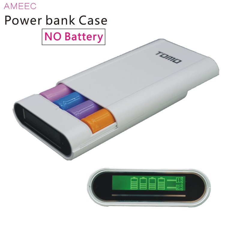 TOMO M4 18650 3.7V Li Ion Battery Charger Case Power Bank Box Charge For 18650 Batteries Dual USB 5V2A Black ( Not Battery )