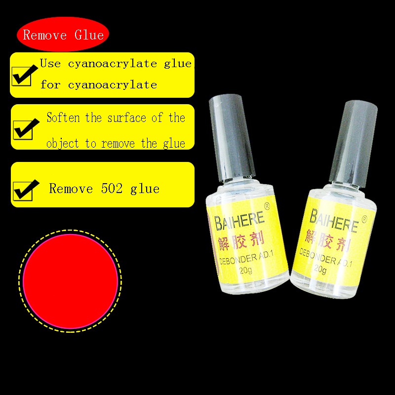 20g As For Nail Polish 502 3M 5second UV B7000 Double Side Sticker Super Glue Dissolve Solution Remove Clear Glue