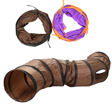 S Pet Tunnel Cat Toy Play Brown Foldable 3 Holes Kitten Bulk Cats Toys Rabbit Puppy Color Supplies
