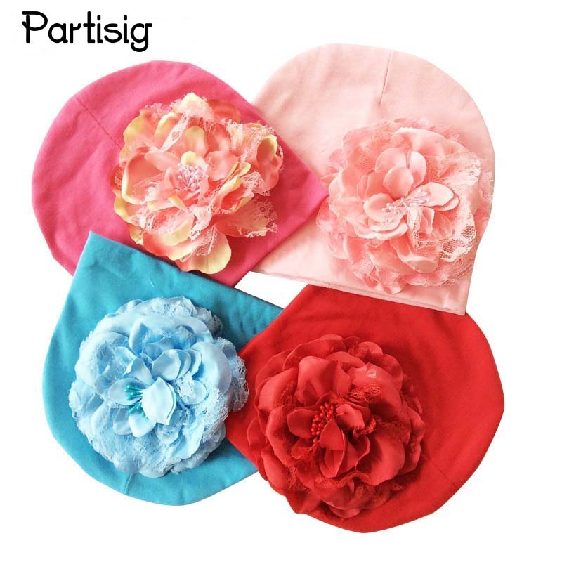Baby  Infant Cotton Beanies Hat Big Peony Flower Toddler Cap Photography Props