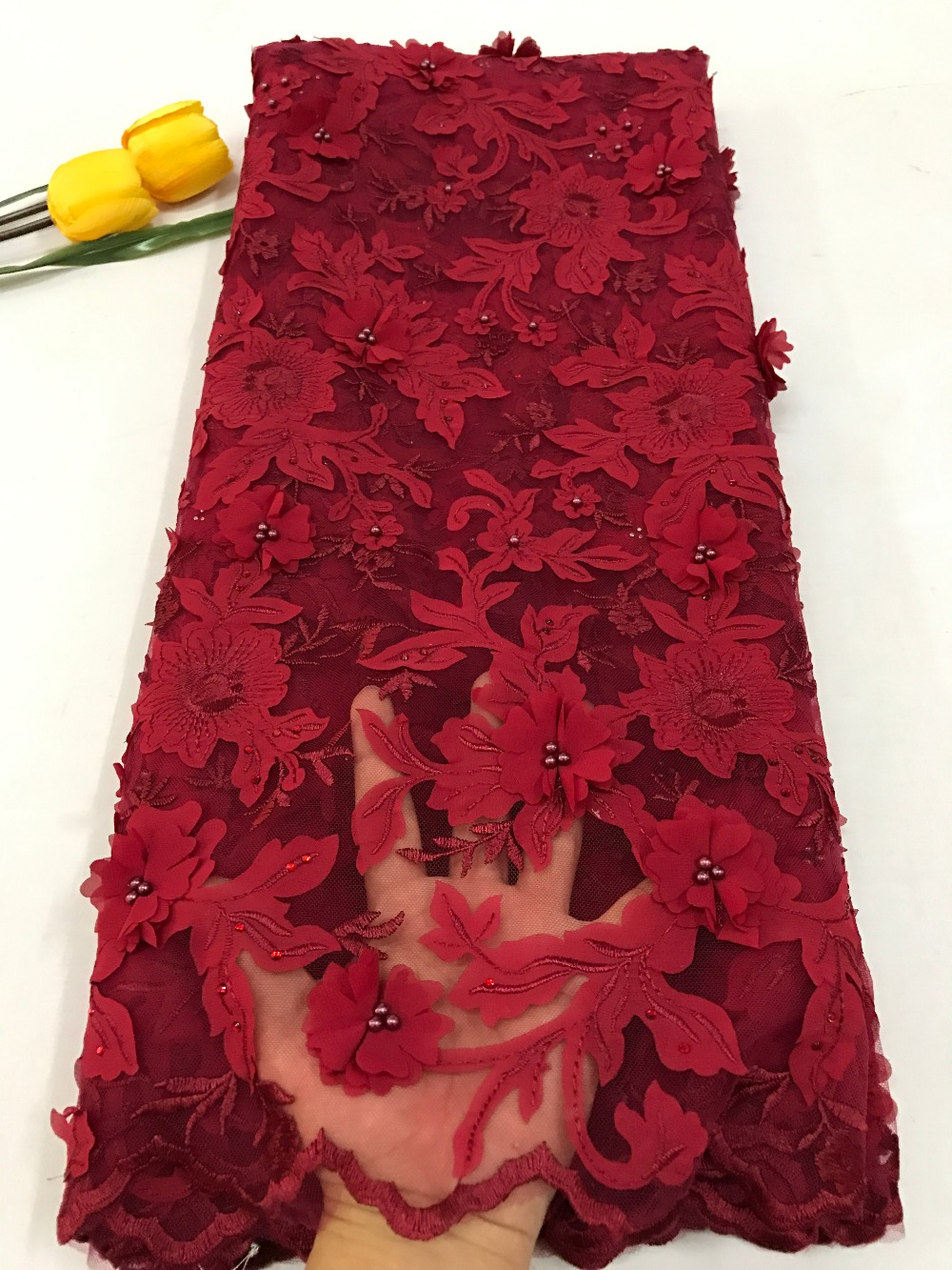 Embroidered African 3D Flower Lace Fabric Hot Sale French Lace Fabric With Pearls Red Color African Tulle Lace Fabric