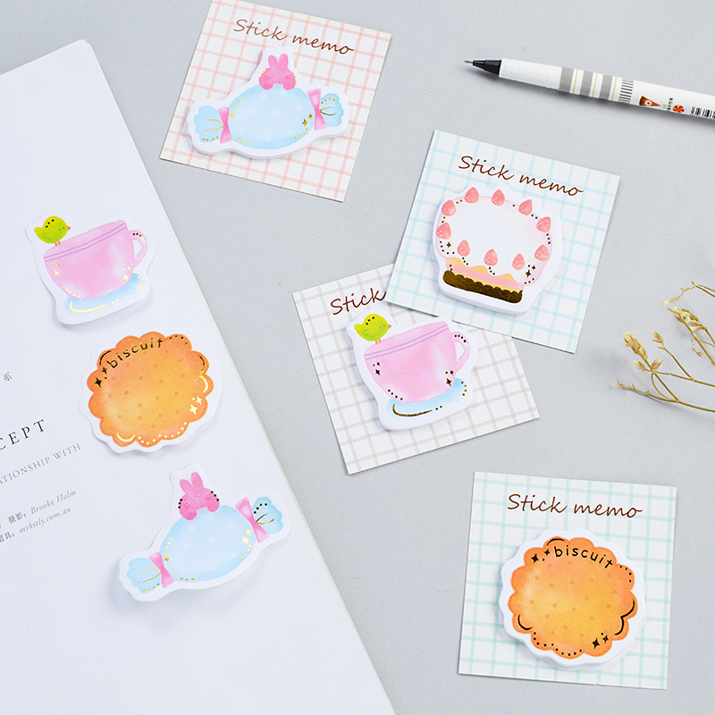 Cute Kawaii Sticky Paper Milk Sweets Memo Pad Post It Note Cartoon Cate Planner Stickers Notepad Korean School Office Stationery