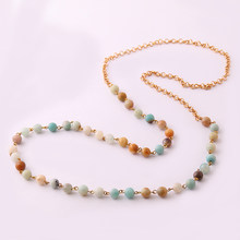 Fashion Amazonite Stones Rosary Chain Circle Metal Tassel Pendant Mala Necklace Handmade Women Jewelry(China)