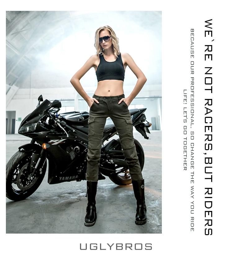 2016 Date Cool Uglybros MOTORPOOL UBS06 femmes jeans Moto pantalon d'équitation Jeans fille jeans moteur pantalon Vert Armée