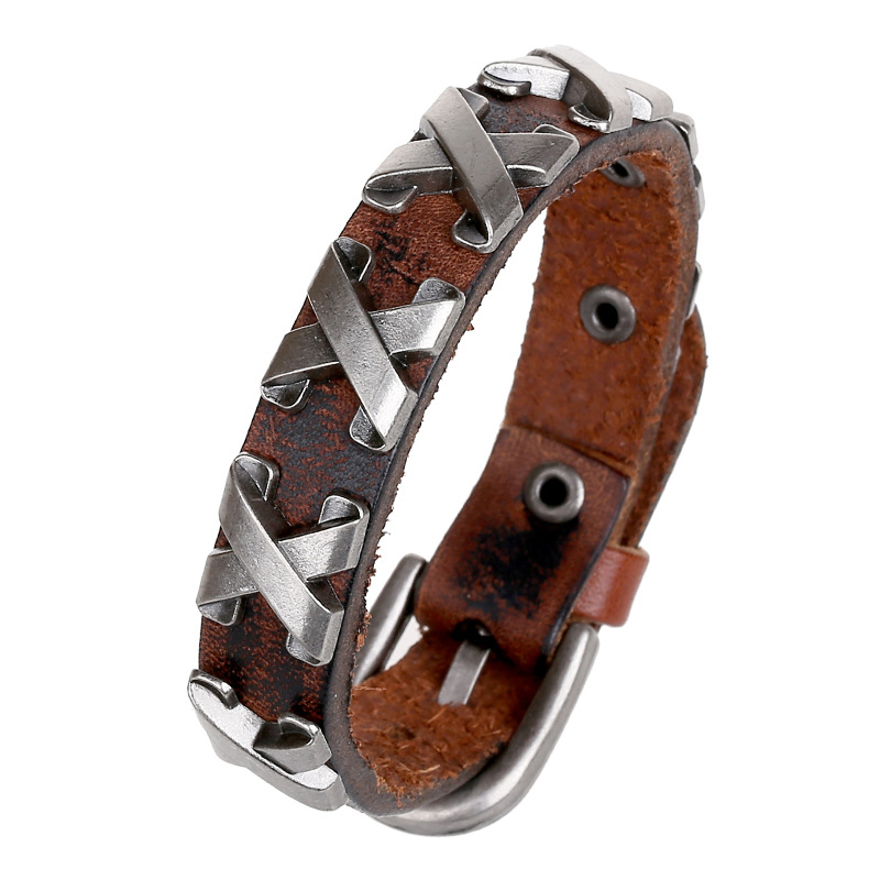 Fashion Jewelry Hologram Bracelets Rock Bikers Bangle Rivet Type X Letters Leather Bracelet Men Casual Vintage Punk Bracelet