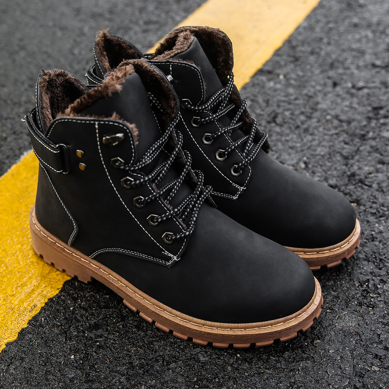 Winter Black Boots Warmth Sneakers Comfortable Hard-Wearing Man Casual Ankle Boots Lace-up Waterproof Non-slip Fashion Man Shoes гравитрон hard man hm 414s