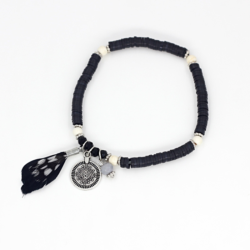 Women 39 s Feather Bracelet Crystal Beads Beads Bracelet Black Soft Pottery Popular Accessories in Strand Bracelets from Jewelry amp Accessories