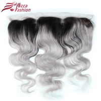 Dream Beauty 1b Grey Body Wave 13x4 Lace Closure Frontal Ombre Gray Color Non Remy Brazilian