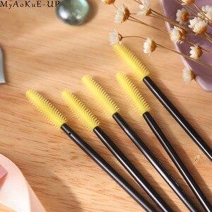 Image 5 - 1000 pz/lotto Silicone Allingrosso Ciglia Spazzole 21 colori Pennelli Trucco Estensione Del Ciglio E Getta Mascara Bacchetta Applicatore