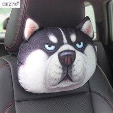 CHIZIYO أحدث 2020 ثلاثية الأبعاد المطبوعة Schnauzer تيدي الكلب وجه سيارة مسند الرأس وسادة العنق وسادة الرقبة السيارات دون حشو