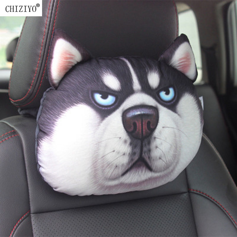 CHIZIYO Newest 2019 3D Printed Schnauzer Teddy Dog Face Car Headrest Neck Rest Auto Neck Pillow Without Filler