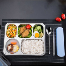 Lunch Box with Tableware/Insulation Bag 304 Stainless Steel Portable  Leakproof Food Thermal Container Separate Compartments