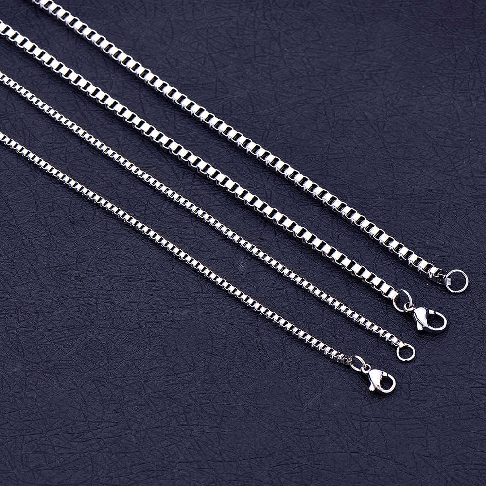 Wholesale Low Price 2MM 3MM Stainless Steel Box Chain Necklace Fashion Jewelry For Men and Women Christmas Gifts Length 45-70CM