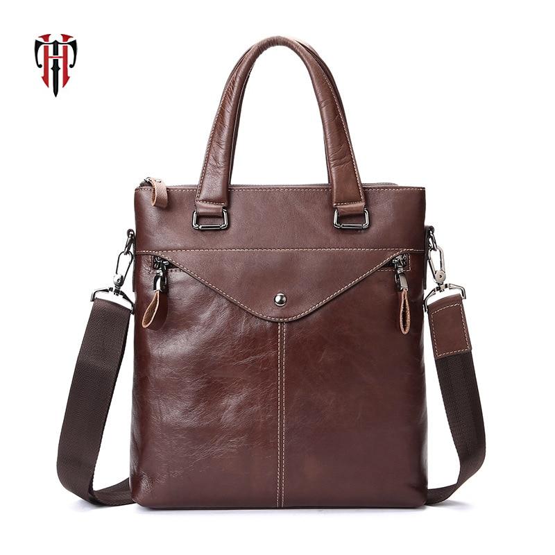 TIANHOO leather man bags crossbody vintage casual style messenger handle bag for men Fake designer tote oil wax genuine leather все цены