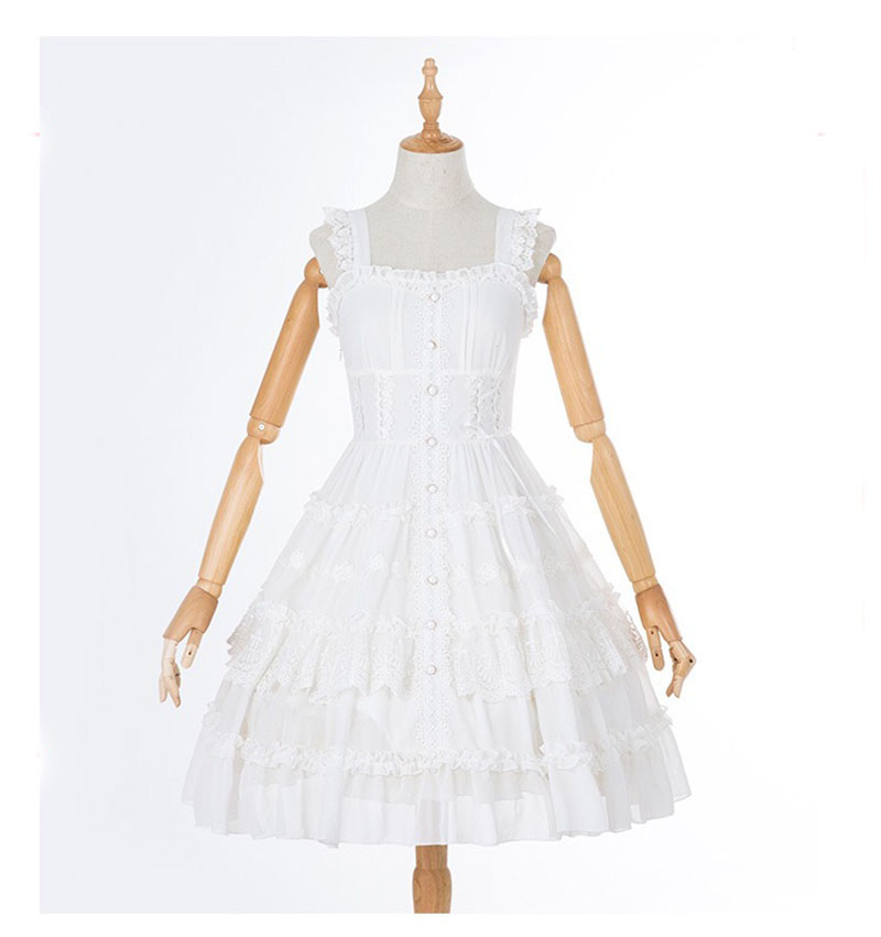 Summer Jumper Embellished Tiered Dress Lady White Knee-Length Layered Ruffle Dress A-Line Chiffon Ruched Beaded Dress For Women
