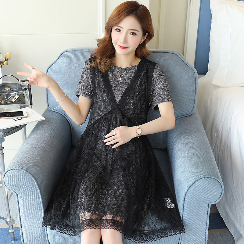 Lace Maternity Clothes Pregnancy Dress Embroidery Preppy Style Loose Pregnancy Clothing Of Pregnant Women Cotton