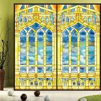 Custom Tiffany Glass Stained Glass European Church Ceiling Glass Windows Painted Wardrobe Balcony Static Film