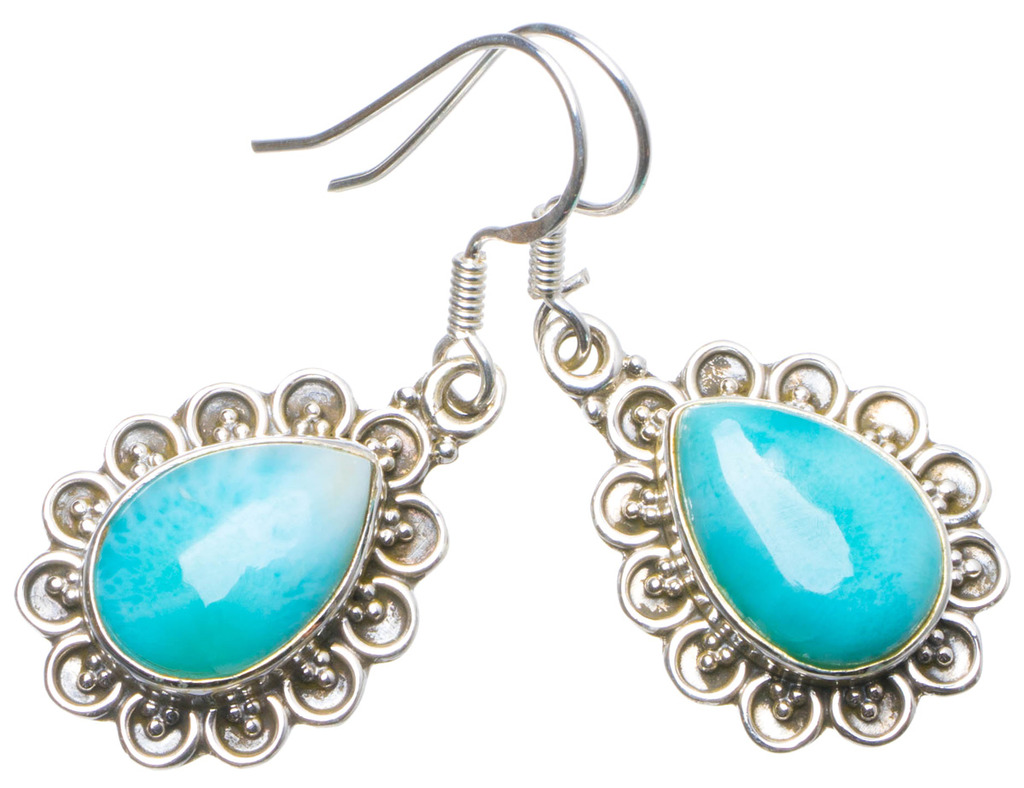 Natural Caribbean Larimar Handmade Unique 925 Sterling Silver Earrings 1.5 X4949