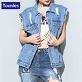Fashion Women Frayed Hole Denim Vest Waistcoats Korean Female Loose Long All-Match Thin Vest Coat Vintage Turn-Down Collar Coats