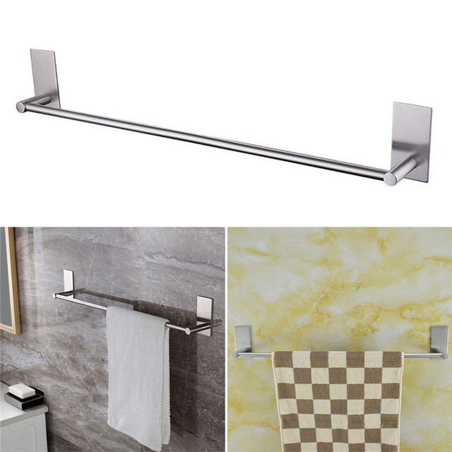 1pcs 3M Single Towel Hanger Wall Stainless Steel Bar Towel Rail Holder Wall  Mounted Kitchen Bathroom