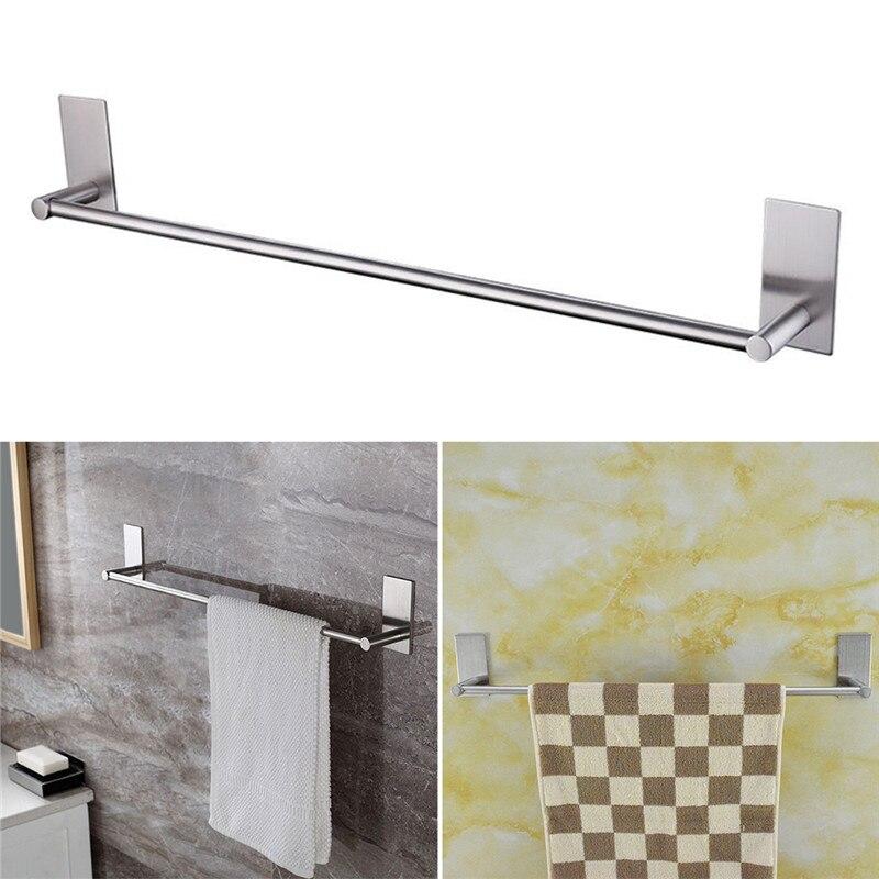 1pcs 3M Single <font><b>Towel</b></font> Hanger Wall Stainless <font><b>Steel</b></font> Bar <font><b>Towel</b></font> Rail Holder Wall Mounted Kitchen Bathroom Shelf <font><b>Towel</b></font> Rack Holder