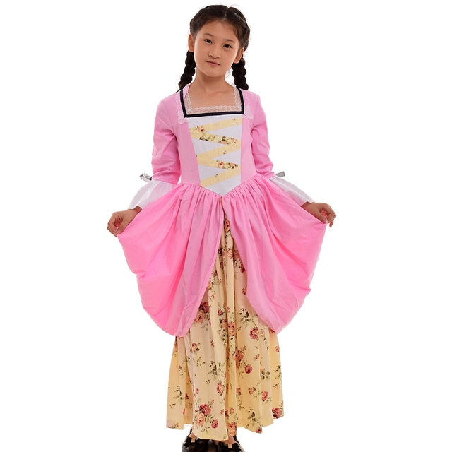 Girls Vintage Dress Colonial Carnival Holidays Cosplay Party Pilgrim Pastoral Floral Costume Pink/Blue