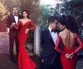 Vestidos de baile formal da sereia longas mangas 2017 sheer voltar vestido de noite vermelho da festa de formatura barato plus size lace dress