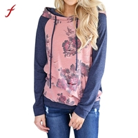 High Quality Womens Long Sleeve Floral Print Hoodie Sweatshirt Autumn Winter Pullover Hoodies With Hat Tops