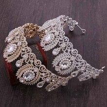 رائعة الزفاف الباروك تيارا خمر كبيرة لامعة كريستال حجر الراين يترك نصف دائرة تاج الزفاف إكسسوارات الشعر مجوهراتمجوهرات الشعر