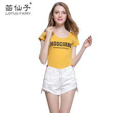 Lotus fairy women's Denim shorts with hole patchwork Ragged jeans trousers Torn jeans shorts for girls summer short fashion 2017