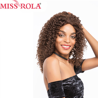 Miss Rola Hair Pre colored Brazilian Long Hair Wigs Afro Kinky Curly #2/4 Color 16 Inches for Women Non Remy Free Shipping