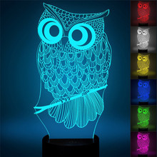 3D Owl LED Desk Table Light Lamp Night Light 7 Color Change Touch Switch Art Sculpture Lights Home Decoration Holiday Light недорого