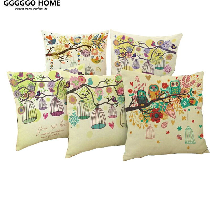 Gggggo home linen cotton fabric animal style printed - Housse de coussin style campagne ...