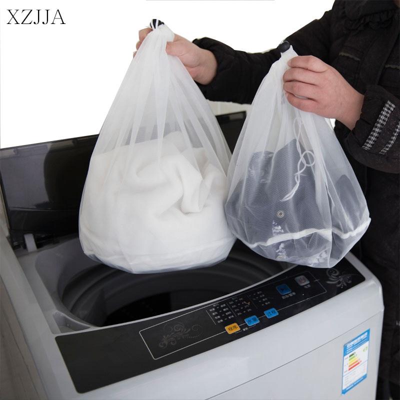 XZJJA 2PC Drawstring White Laundry Bags Women Bra Underwear Nylon Mesh Bag Washing Pouch Clothes Protector Case Laundry Baskets